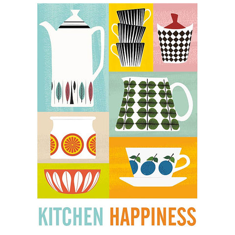 Retro A3 Graphic Print - 'Kitchen Happiness' Design by ReStyle