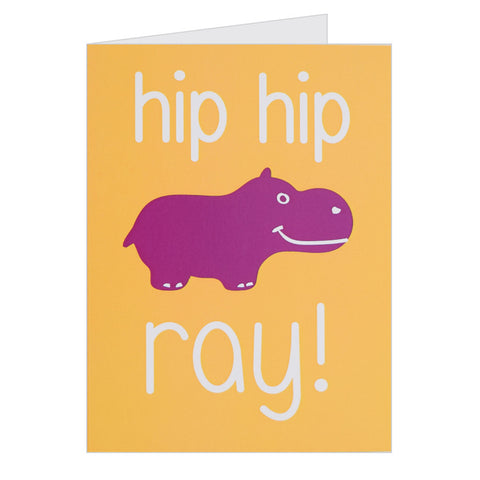 Retro Greeting Card By Hello Dodo, Hip Hip Ray!, Hippo Design, Yellow