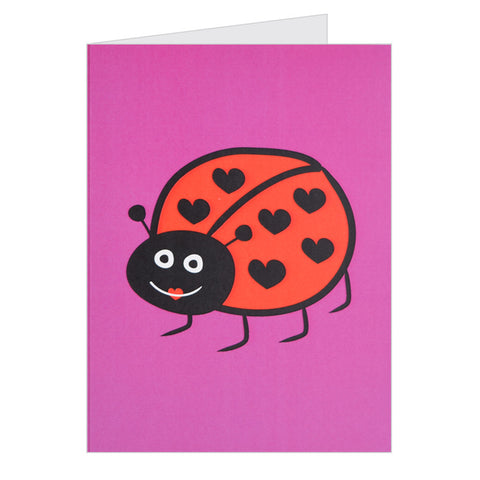 Retro Greeting Card By Hello Dodo, Lovely Ladybird Design, Purple