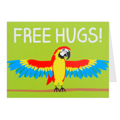 Retro Greeting Card By Hello Dodo, Free Hugs, Parrot Design