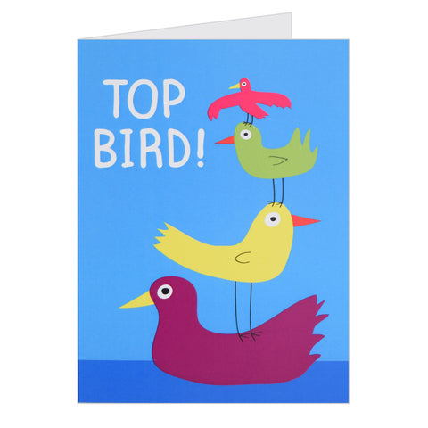 Retro Greeting Card by Hello Dodo, Top Bird, Blue
