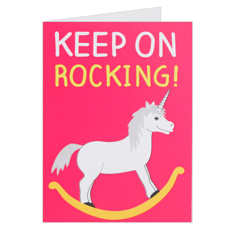 Retro Greeting Card By Hello Dodo, Keep on Rocking, Unicorn Design, Pink