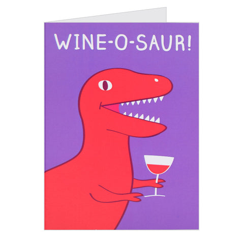 Retro Greeting Card By Hello Dodo, Wine-o-Saur, Dinosaur Design