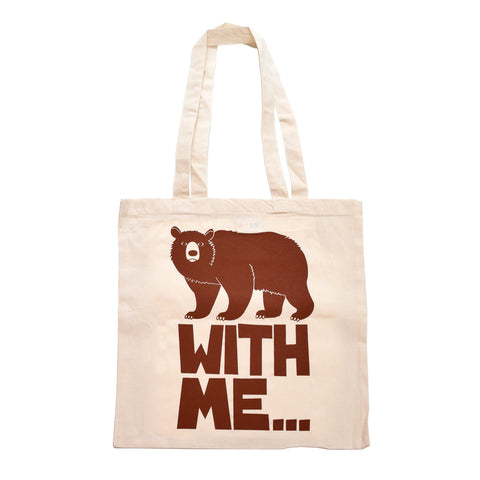 Retro Tote Bag by Hello Dodo, Bear With Me Design, Brown Bear