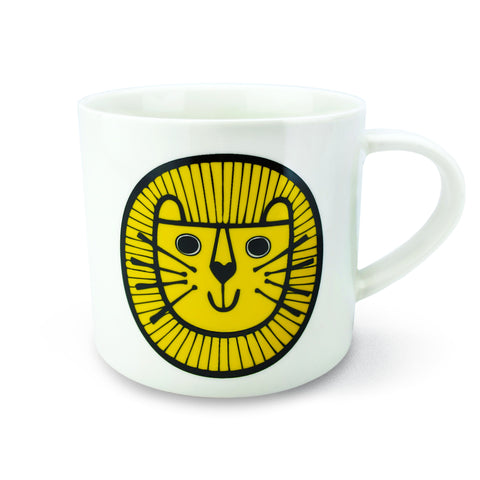 Retro Mug - Jane Foster - Lion Design, Yellow