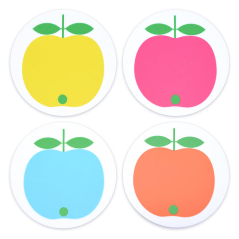 Retro Coaster set of 4 - Swedish by Lotta Kuhlhorn, Apples, Multi Coloured
