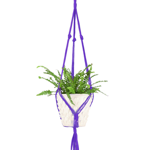 Retro Hanging Macrame Plant Pot Holder, Purple
