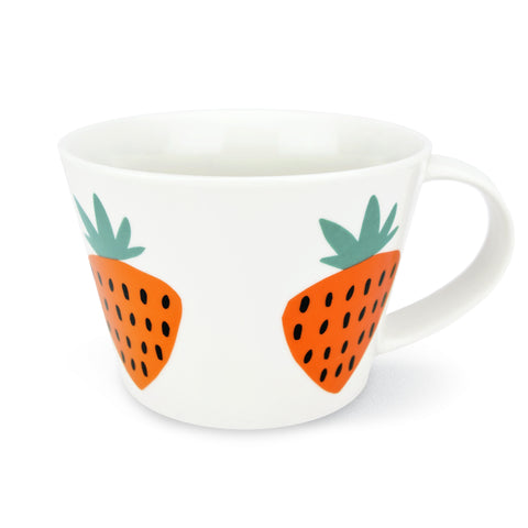 Retro Short Mug - By Becky Baur - Strawberry design, Orange