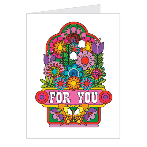 Retro Greeting Card by Draw Pilgrim, Flower Design
