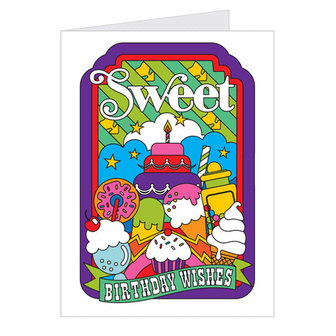 Retro Greeting Card by Draw Pilgrim, Sweet Birthday Wishes, Ice Cream Design