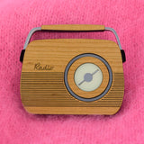 Retro Wooden Brooch - Iconic Radio Design, Cherry Wood
