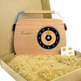 Retro Wooden Clock - Radio Design, Cherry Wood - Packaging