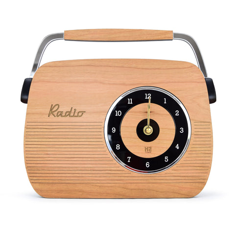 Retro Wooden Clock - Radio Design, Cherry Wood