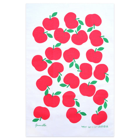 Retro Cotton Tea Towel - Swedish by Lotta Kuhlhorn, Apples, Red