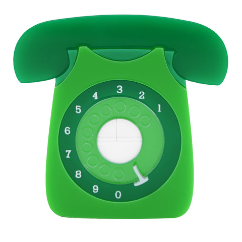 Retro Acrylic Brooch - GPO Style Telephone Design Green