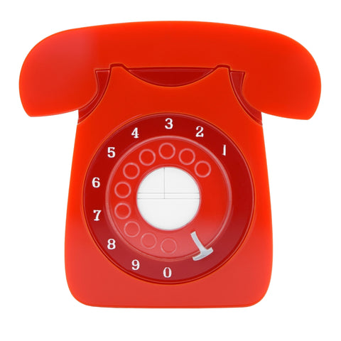 Retro Acrylic Brooch - GPO Style Telephone Design, Red