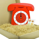 Retro Acrylic Clock - Iconic GPO Style Telephone Design Packaging, Red