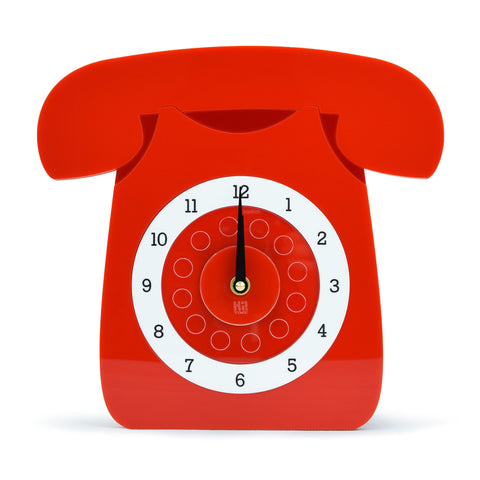Retro Acrylic Clock - Iconic GPO Style Telephone Design, Red