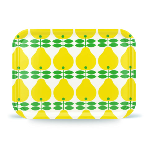 Retro Birch Veneer Tray - Swedish by Lotta Kuhlhorn - Pear Design, Yellow