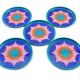 Vintage 1970s Round Metal Coasters Set of 5 - Dutch by Tomado, Blue & Orange
