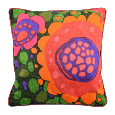 Vintage 1960s Cushion - Swedish by Saini Salonen for Boras - Flower Ekero Design, Orange & Green