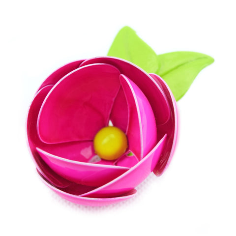 Vintage 1970s Enamel Brooch Pin - Flower Design, Pink