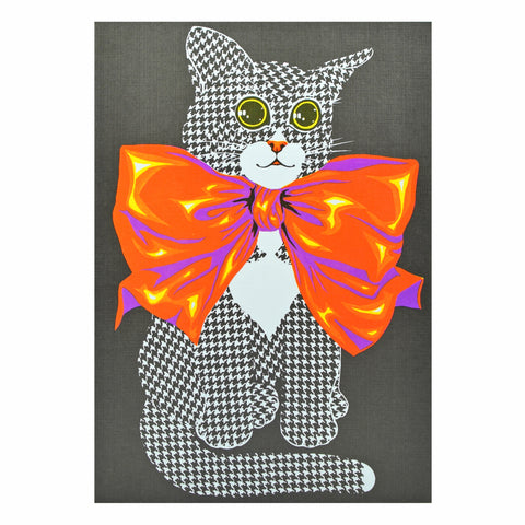 Vintage 1970s Greeting Card - by Paolo Romanelli - Cat in Bow, Black