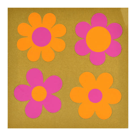 Vintage 1970s Sticker - by Jan Pienkowski - Set of 4 Small Flower Design, Orange & Pink