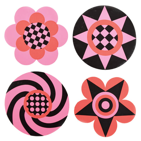 Vintage 1970s Sticker - by Jan Pienkowski - 4 Small Flower Design, Pink, Red & Black