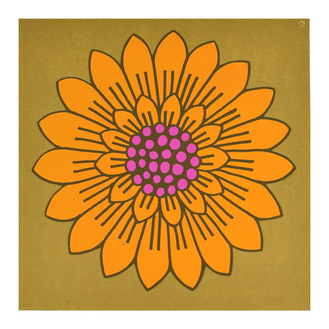 Vintage 1970s Sticker - by Jan Pienkowski - Large Flower Design, Orange