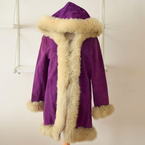 Vintage 1960s Purple Suede Afgan Coat - Size 12/14