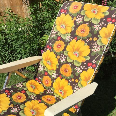 Vintage 1970s Garden Sun Lounger - Yellow Flower Power Print