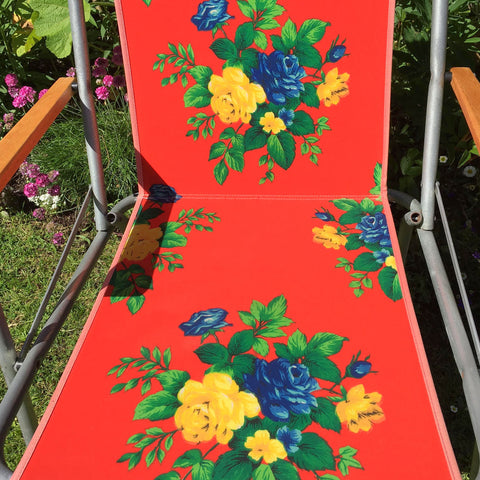Vintage 1960s Folding Garden Chair - Flower Power - Red, Blue, Yellow & Green