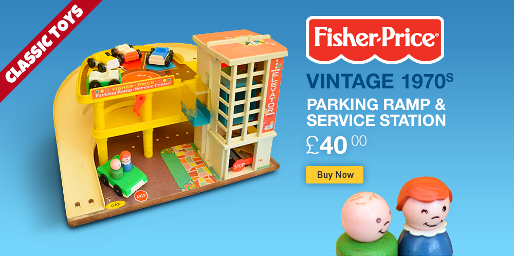 Vintage 1970s Fisher Price Parking Ramp and Service Station Toy