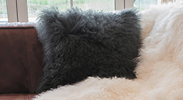 Collezione Tibetan Lambs Wool Cushion  Charcoal Grey