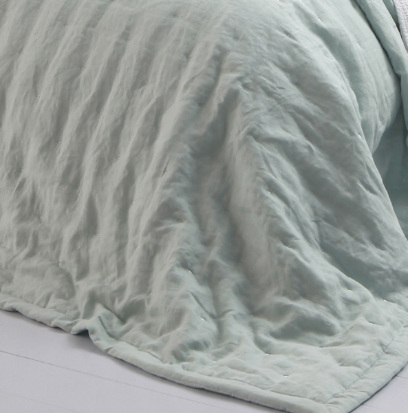MM Linen laundered Linen Bedspread Duckegg King