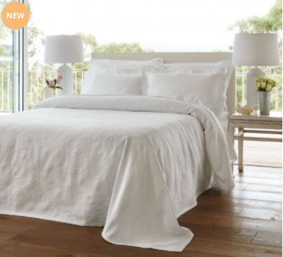Baksana Petal Bedspread Set White Queen