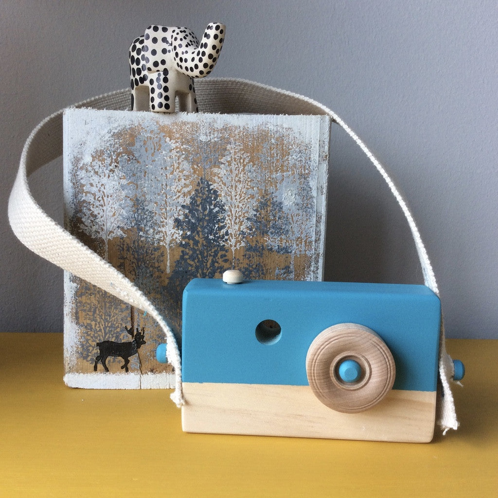 Peacock Blue Wooden Camera