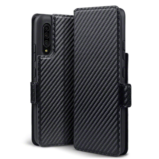 Terrapin Samsung Galaxy A90 5G Low Profile PU Leather Wallet Case - Black Carbon Fibre Texture