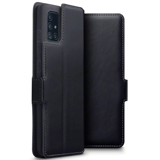 Terrapin Samsung Galaxy A51 Low Profile Genuine Leather Wallet Case - Black
