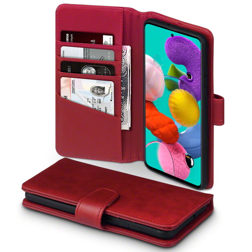 Terrapin Samsung Galaxy A51 Real Leather Wallet Case - Red