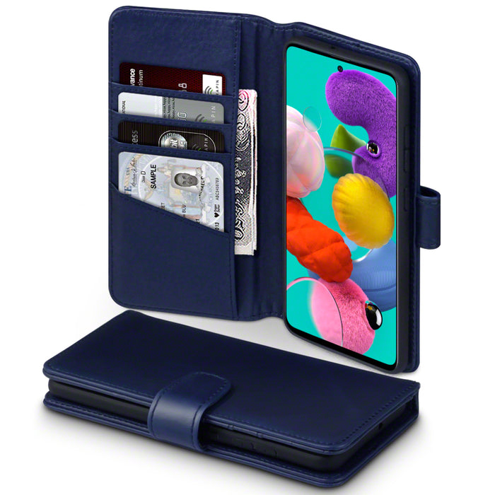 Terrapin Samsung Galaxy A51 Real Leather Wallet Case - Blue