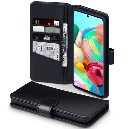 Terrapin Samsung Galaxy A71 Real Leather Wallet Case - Black