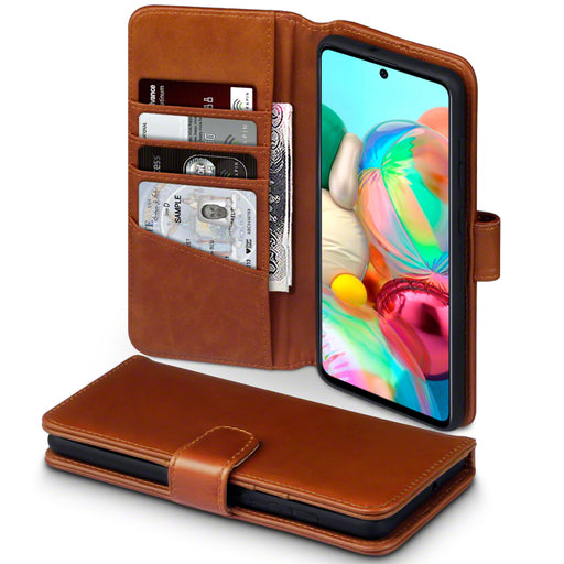 Terrapin Samsung Galaxy A71 Real Leather Wallet Case - Cognac