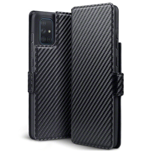 Terrapin Samsung Galaxy A71 Low Profile PU Leather Wallet Case - Black Carbon Fibre Texture