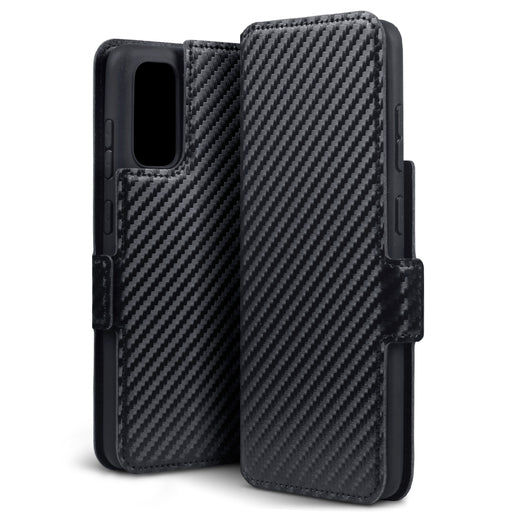 Terrapin Samsung Galaxy S11 Lite Low Profile PU Leather Wallet Case - Black Carbon Fibre Texture