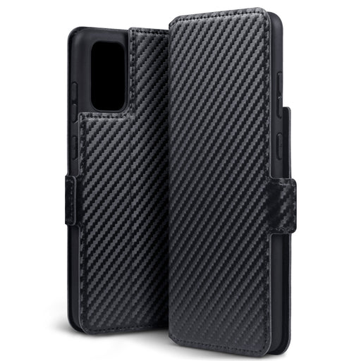 Terrapin Samsung Galaxy S20 Plus Low Profile PU Leather Wallet Case - Black Carbon Fibre Texture