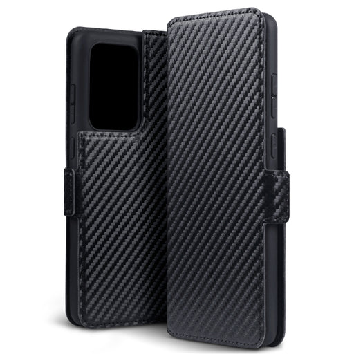 Terrapin Samsung Galaxy S20 Ultra Low Profile PU Leather Wallet Case - Black Carbon Fibre Texture