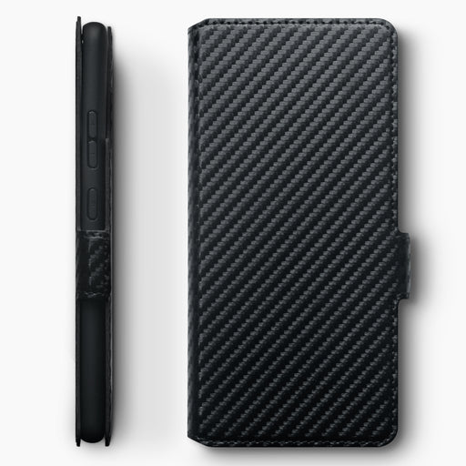 Terrapin Samsung Galaxy A91 Low Profile PU Leather Wallet Case - Black Carbon Fibre Texture