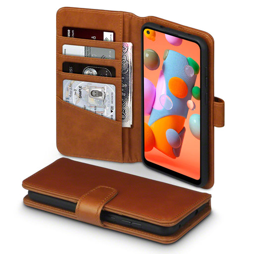 Terrapin Samsung Galaxy A11 Real Leather Wallet Case - Cognac